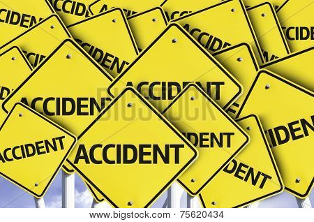 Accident written on multiple road sign