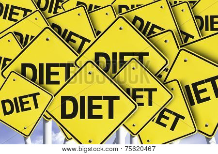 Diet written on multiple road sign