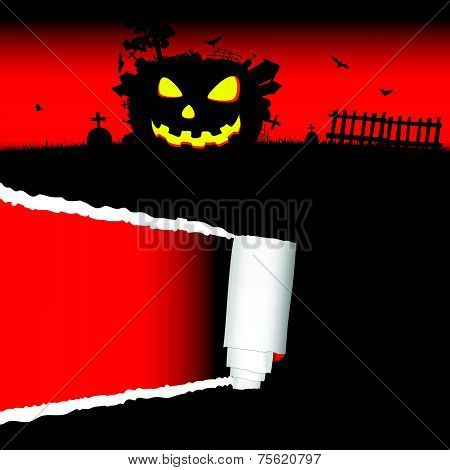 Halloween Pumpkin Vector With Tearing Paper