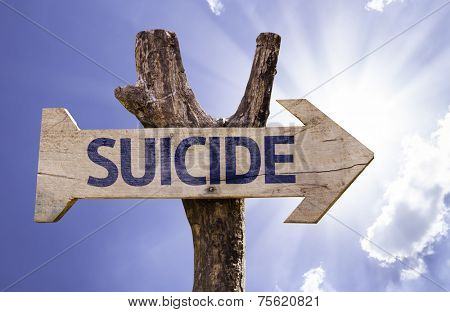 Suicide wooden sign on a heaven background