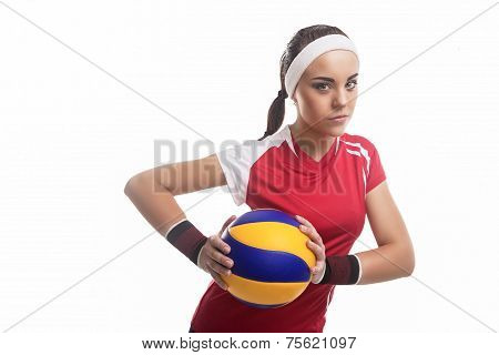 Strong Willed Caucasian Professional Female Volleyball Player Equipped In Volleyball Outfit Holding