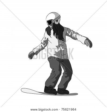 Snowboarder sliding down, female snowboarding