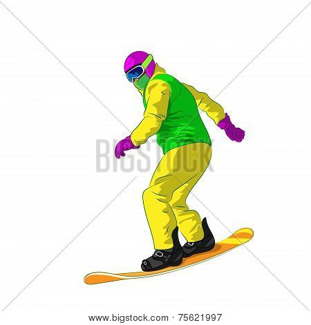 Snowboarder sliding down, man snowboarding