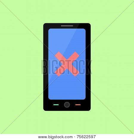 Flat style smart phone with error sign