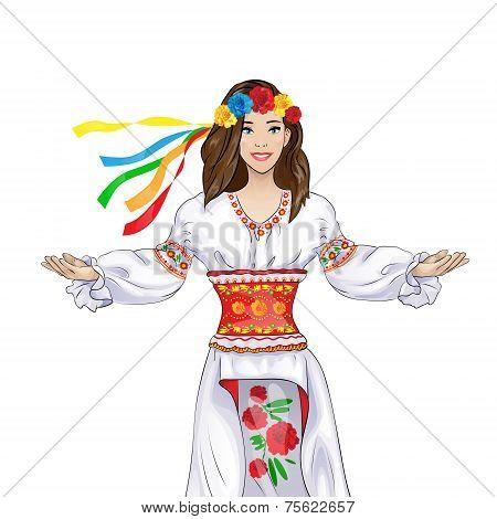 girl welcome hand gesture in ukrainian national traditional costume