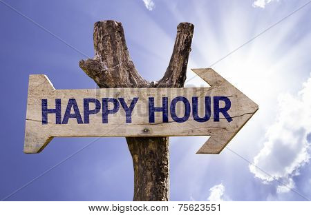 Happy Hour wooden sign on a beautiful day