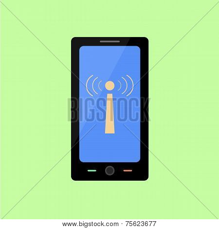 Flat style smart phone with wi-fi sign