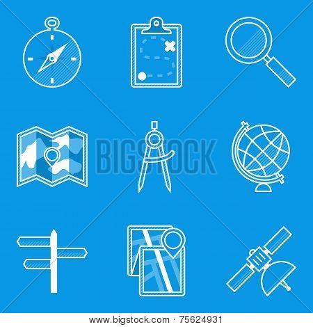 Blueprint icon set. Navigation