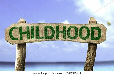 Childhood sign with a beach on background