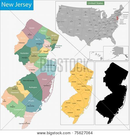 Map of New Jersey state designed in illustration with the counties and the county seats
