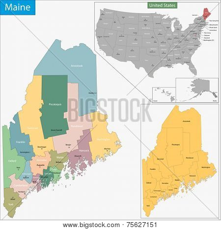 Map of Maine state designed in illustration with the counties and the county seats
