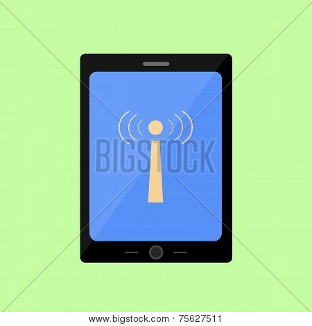 Flat style touch pad with wi-fi icon