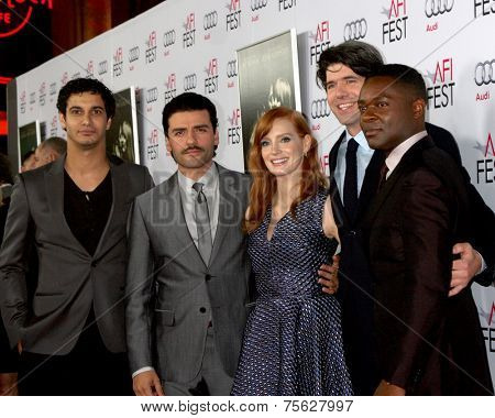 LOS ANGELES - NOV 6:  Elyes Gabel, Oscar Isaac, Jessica Chastain, J.C. Chandor, David Oyelowo at the AFI screening Of
