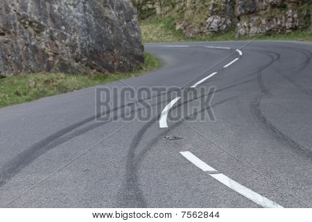 Skid marks left by bored teenage drivers