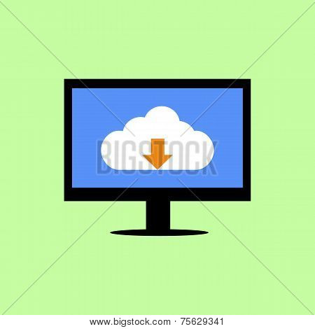 Flat style computer with cloud downloading