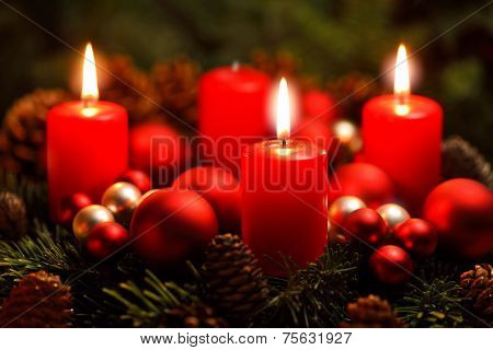 Advent Wreath With 3 Burning Candles