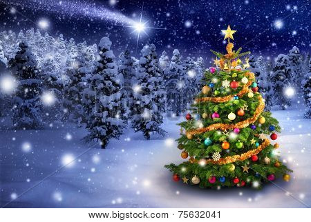 Christmas Tree In Snowy Night