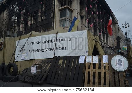 KIEV, UKRAINE - APR 7, 2014: Downtown of Kiev,vandalised during Revolution of Dignity.Riot in Kiev and Western Ukraine.April 7, 2014 Kiev, Ukraine