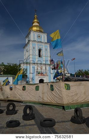 KIEV, UKRAINE - APR 28, 2014: Downtown, vandalized during Revolution of Dignity in Kiev. April 28, 2014 Kiev, Ukraine