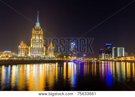 Hotel Ukraine And Moscow-city In The Evening