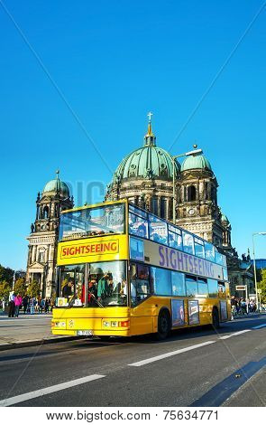 Touristic Bus At Berliner Dom In Berlin