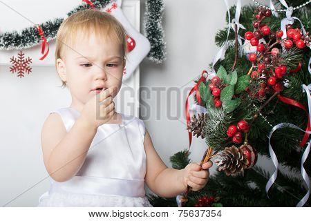 Cute Little Girl Examines A Red Berries  Rowan Near  The Christmas Tree