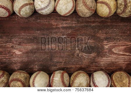 Old Vintage Baseball Background. Focus in center