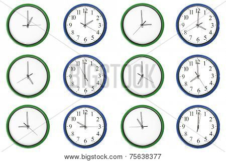 12 clocks isolated on a white background. Each one showing one hour of the day. The pair numbers are outstanding.