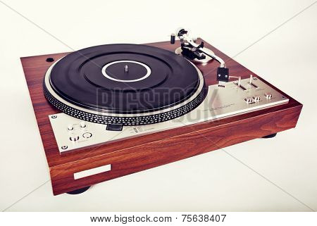 Stereo Turntable Vinyl Record Player Analog Retro Vintage Top View