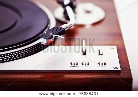 Stereo Turntable Vinyl Record Player Analog Retro Vintage Closeup