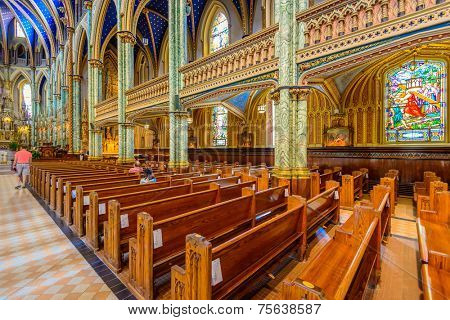 Ottawa, CANADA - SEP 10: Notre-Dame Cathedral Basilica interior on September 10, 2014 in Ottawa, Canada. It is the oldest and largest church in Ottawa and National Historic Site of Canada.