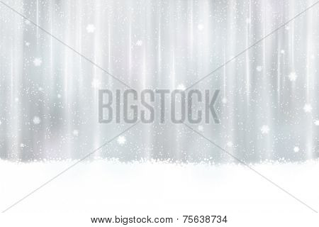 Abstract silver background design. Snowfall and light effects give it a dreamy, soft feeling and a glow perfect for the festive Christmas season. Seamless horizontally