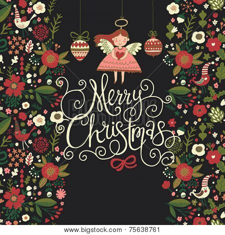 Delightful Christmas card with russian floral ornaments in vector. Bright holiday background with small cute angel in stylish flowers in cartoon style on dark background
