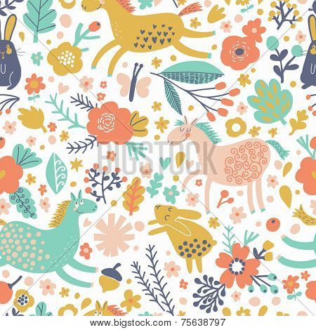 Funny horses with rabbits on flower meadow. Bright cartoon seamless pattern in vector