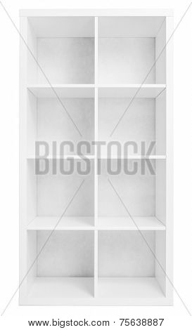 Empty shelving or library bookcase isolated