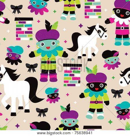 Seamless sinterklaas en zwarte piet pieten illustration dutch holiday background pattern in vector