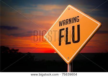 Flu on Warning Road Sign.