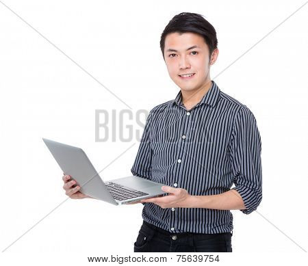 Asian businessman use portable computer