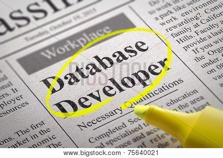 Database Developer Vacancy in Newspaper.