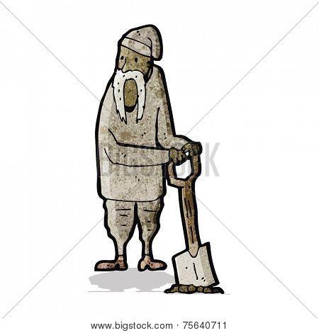 cartoon peasant digging