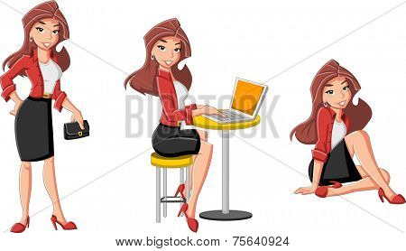 Beautiful cartoon business woman with computer