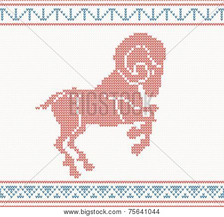 Red knitted pattern with sheep or goat. vector illustration