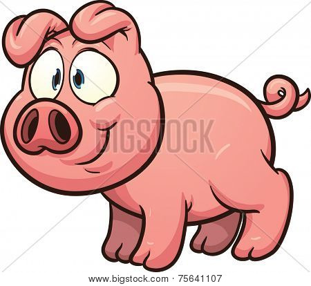 Little cartoon pig. Vector clip art illustration with simple gradients. All in a single layer.