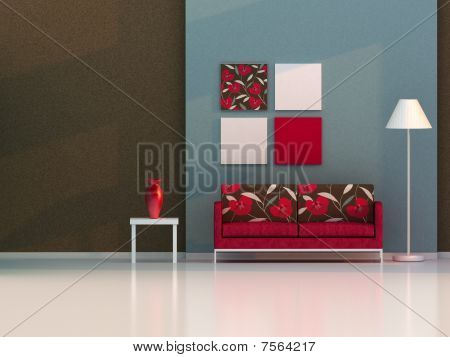 brown and blue living room , modern room
