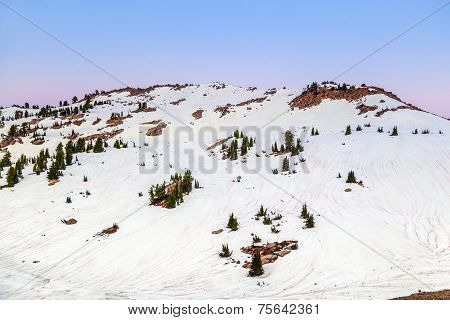 Snow On Mount Lassen In The National Park
