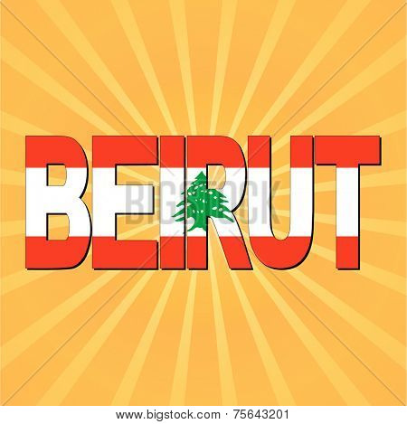 Beirut flag text with sunburst vector illustration