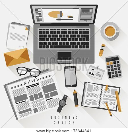 Work Place Concept In Flat Design