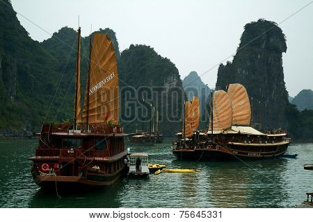 Junk ship in Halaong Bay,Vietnam.