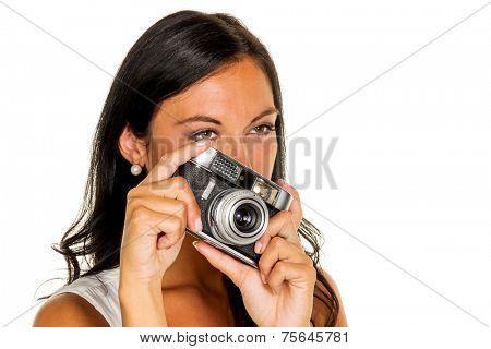 a young woman photographed with a retro camera