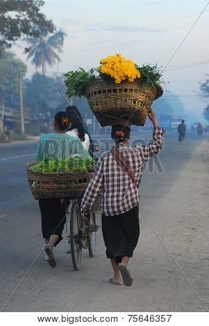 A Woman Monger Go To Market In Myanmar.